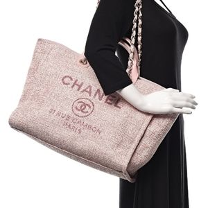 2019 CHANEL pink Straw Lurex Deauville Large Tote.